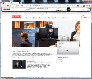 Franke Website (CH): Screenshot of July 30, 2014