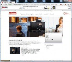 Franke Website (CH): Screenshot of July 30, 2014