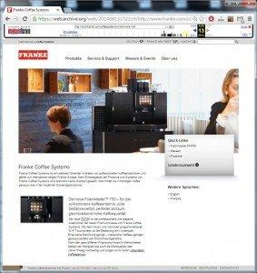 Franke Website (CH): Screenshot of August 12, 2014