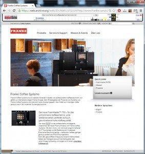 Franke Website (CH): Screenshot of August 12, 2014