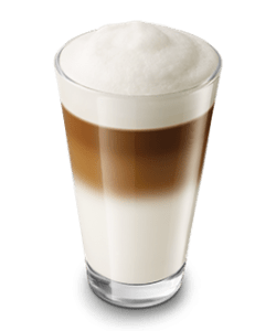 Latte macchiato, with milk froth topping